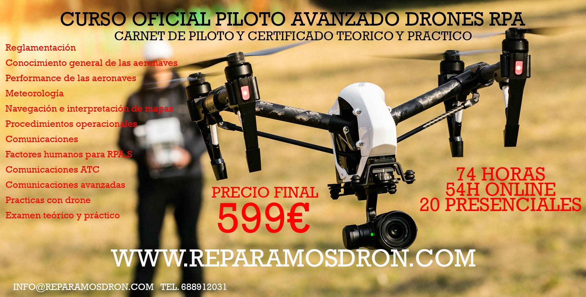 CURSO PILOTO AVANZADO DE RPAS (DRONES) BARCELONA